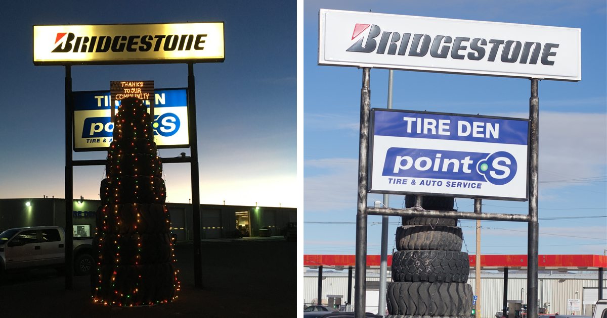 Check Out a Very Merry Lighted Tire Tree at Tire Den