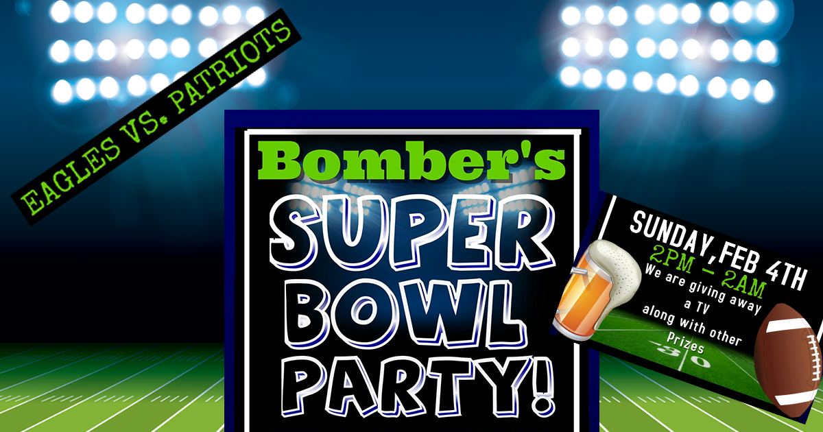 Sport Your Team Colors at Bomber's Superbowl Party!