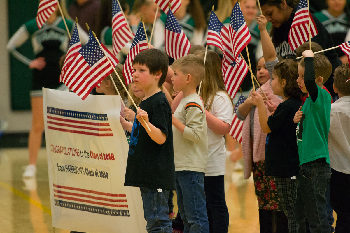 Harrison Elementary Students Recite Pledge of Allegiance at GRHS Basketball Games