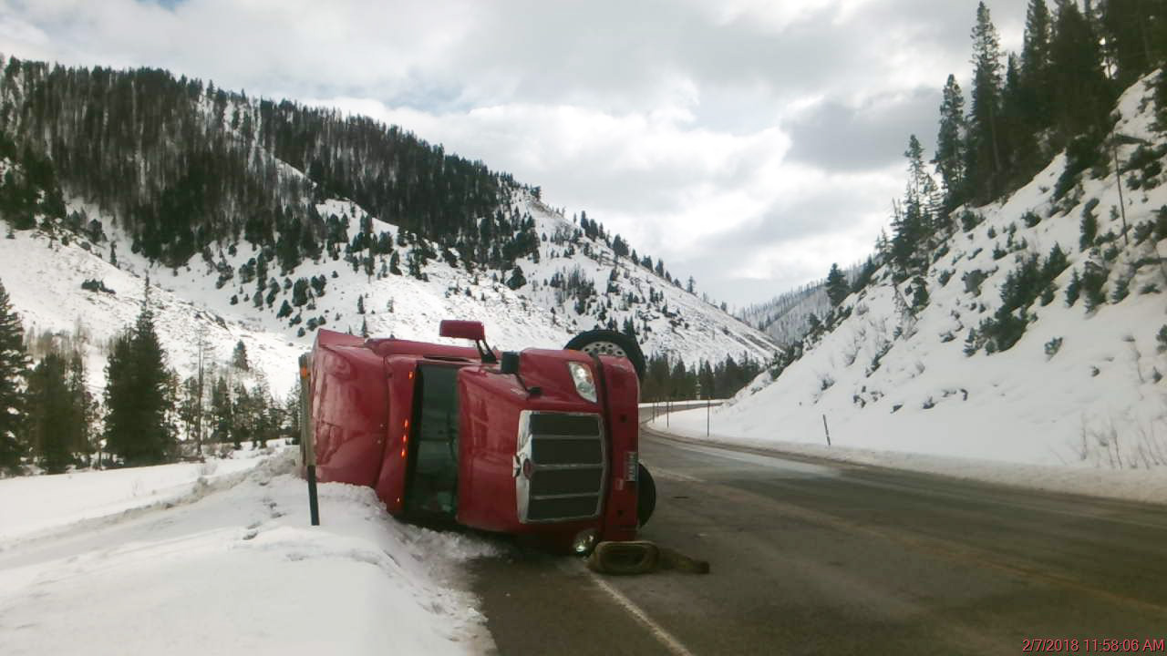 Distracted by Breakfast, Driver Rolls Semi in Hoback Canyon
