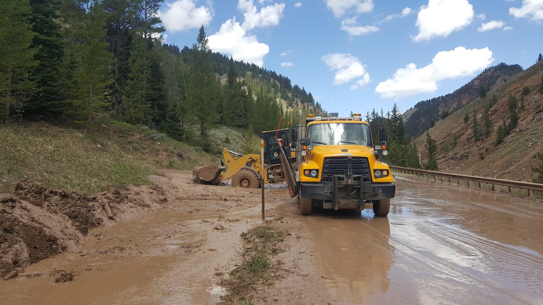 Mud Slide in Hoback Canyon Comes Down Again