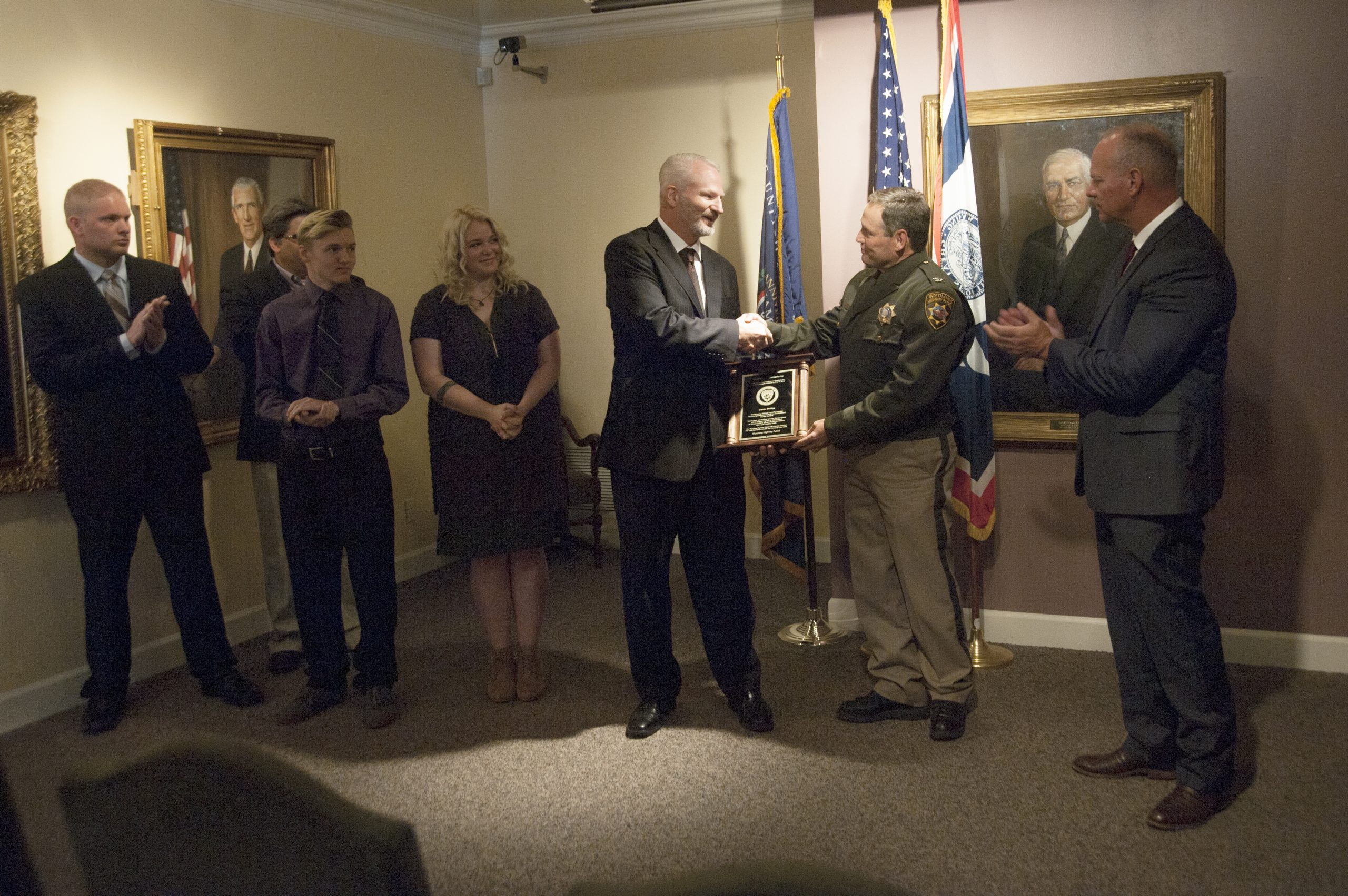 Wyoming Highway Patrol Honors Citizen For Assisting Trooper When Suspect Attempted to Take Gun