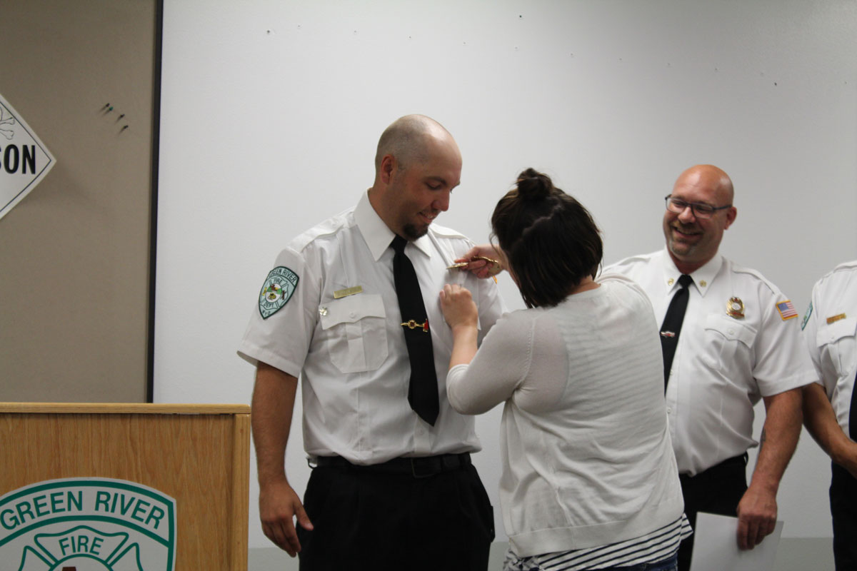 Green River Firefighters Promoted at Badge Pinning Ceremony