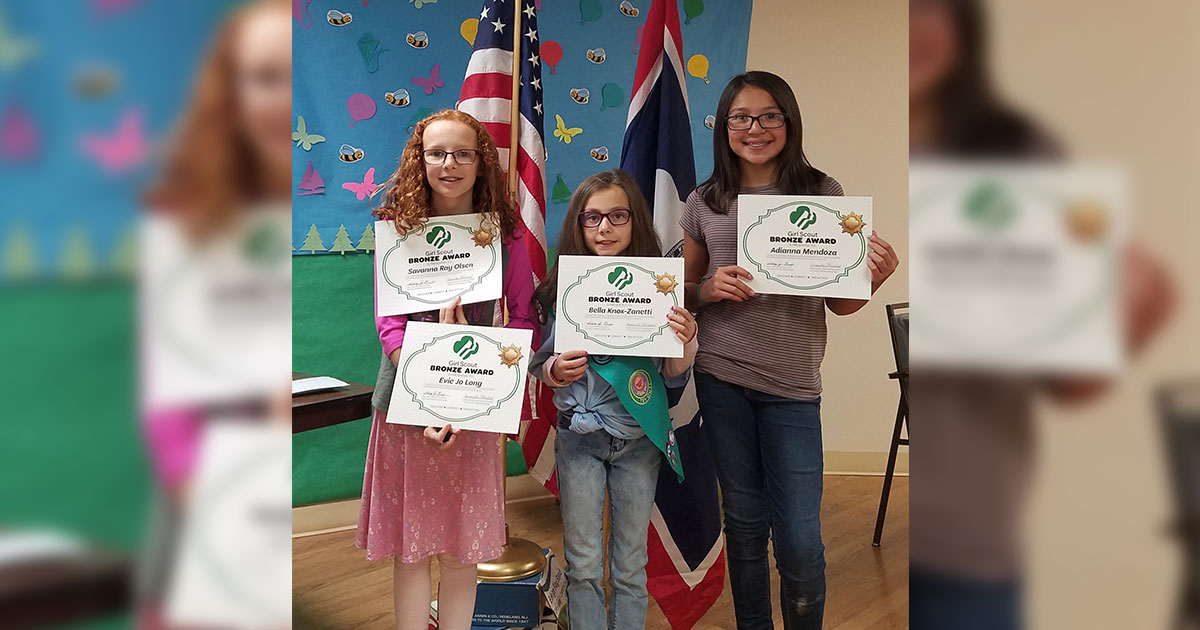 Local Girl Scouts Receive Bronze Awards for Community Projects