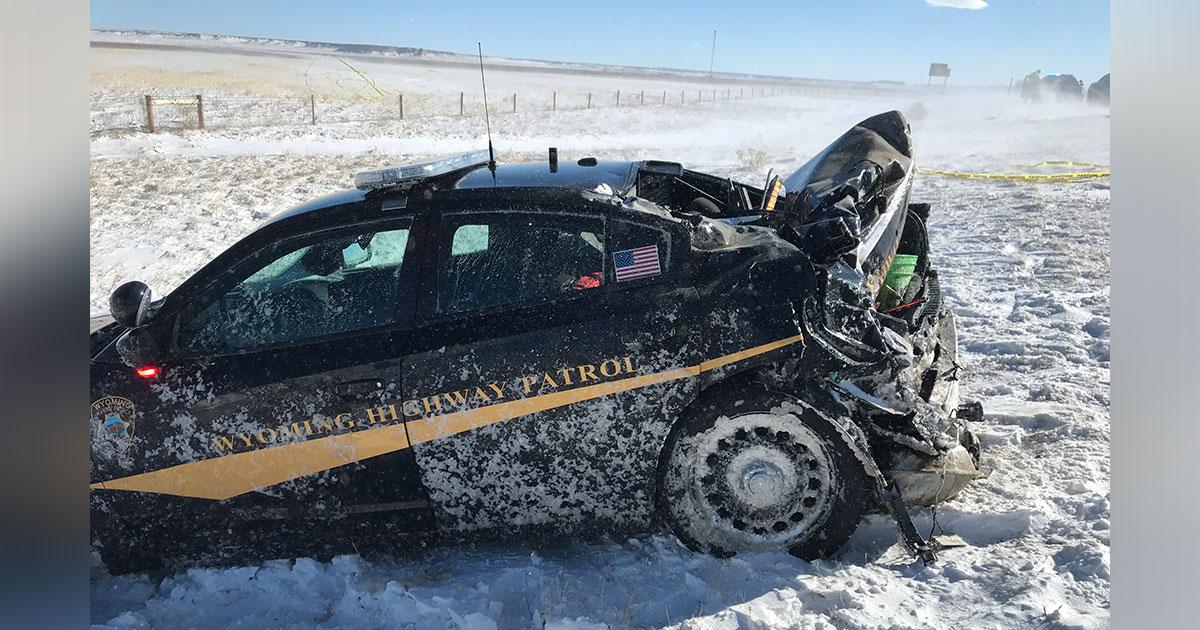 Wyoming Highway Patrol Trooper Injured In Two-Vehicle Collision