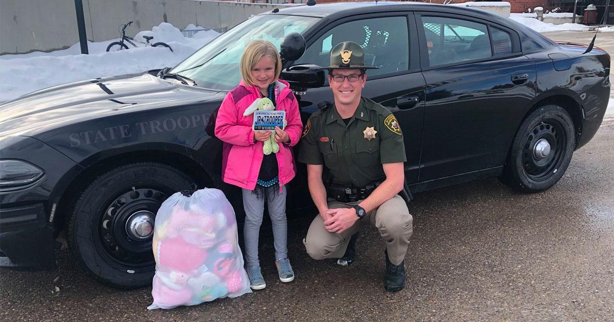 Wyoming Girl Donates Her Stuffed Animals to Wyoming Highway Patrol