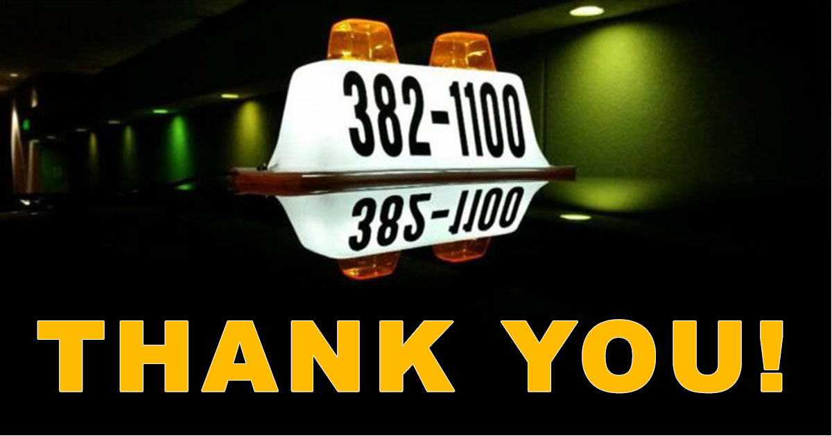 """Thank You"" for Over 2 Million Miles Safe from All City Taxi Service"
