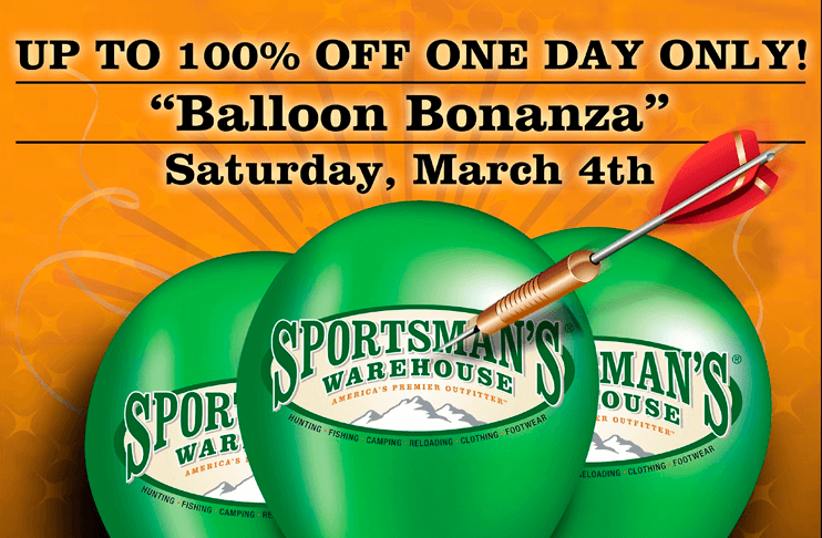 Up to 100% Off Purchases at the Sportsman's Warehouse Balloon Bonanza