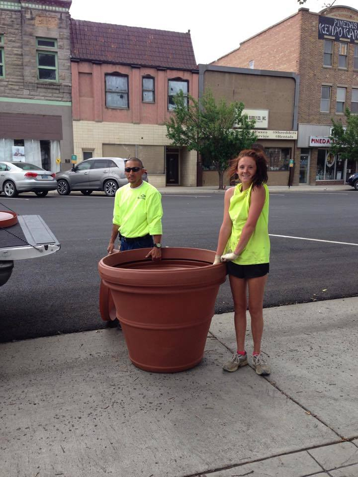 Downtown Planters Placed; Volunteers Sought for Saturday Planting