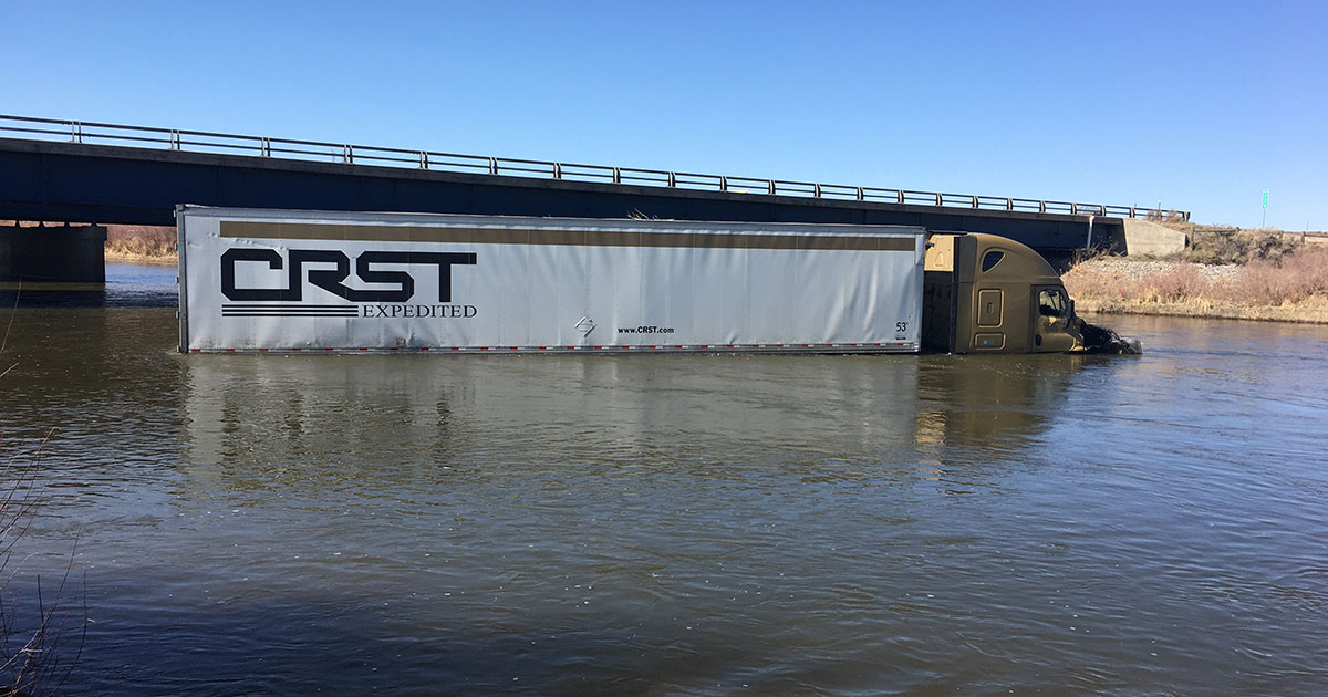 Driver Crashes Commercial Truck Into North Platte River After Falling Asleep