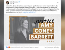Barrasso, Enzi, Cheney Respond to Amy Coney Barrett Confirmation to the U.S. Supreme Court