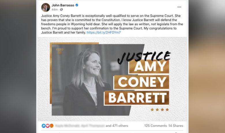 Barrasso, Enzi, Cheney Respond to Amy Coney Barrett Confirmation to the U.S. Supreme Court