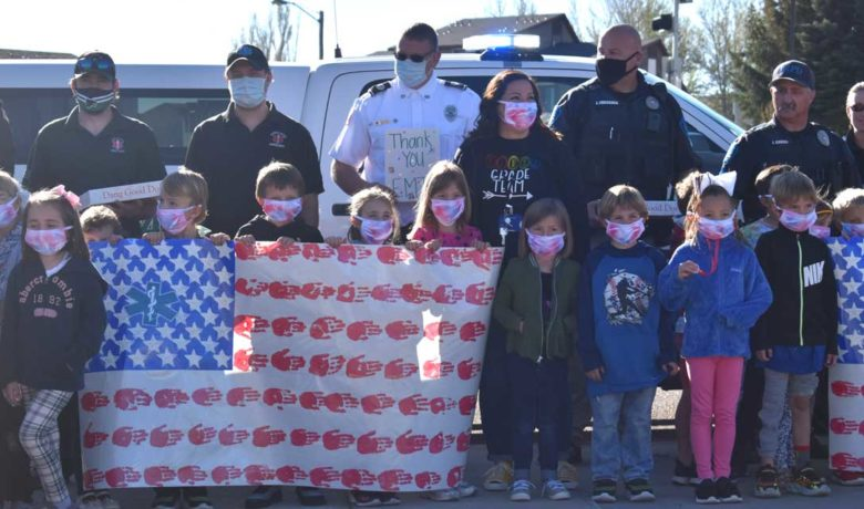 First Graders Make Flags to Show Appreciation for First Responders