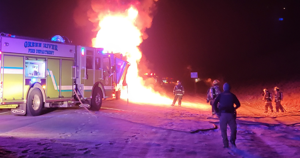 Firefighters Extinguish Fire on I-80