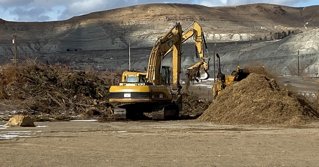 Green Waste Chipping from September Winter Storm Begins at Rodeo Grounds